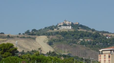 Montepagano can be seen from the beach at Roseto degli Abruzzi