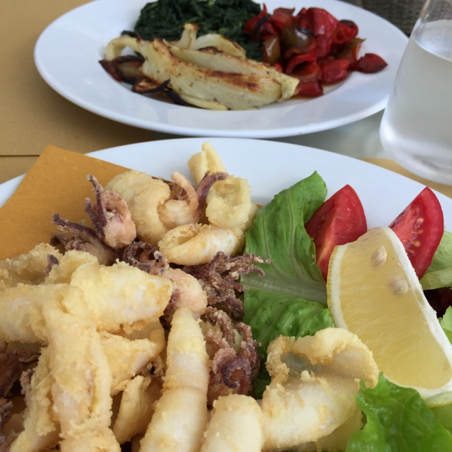 Fritto Misto - Frittura di pesce - plus a side of roasted and grilled veggies at Berardo Caffè, Pescara. Classic, timeless, perfect.