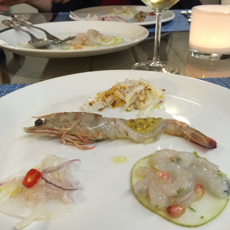 Raw fish paired with fruits and other flavours. Genius!