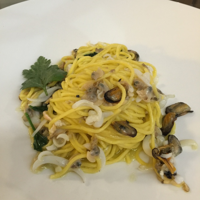 Spaghetti with mussels and squid. This was subtle and divine.