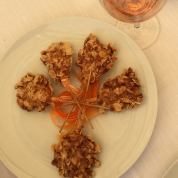 In Bari, we let the waiter bring us food until we said STOP. These skewered prawns were encrusted with almond slivers. DELISH.