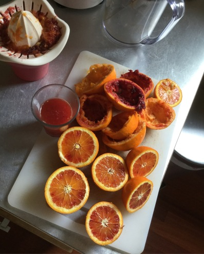 Breakfast with host family included the last blood oranges of the season...