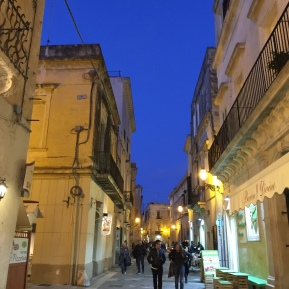 First view of Lecce on arrival. The sky at twilight was a beautiful blue. Crepuscolo a Lecce.