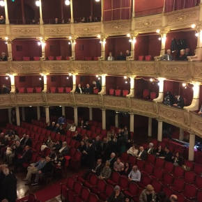 Inside Teatro Politeama Greco for the opera.