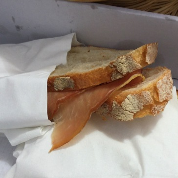I snacked on a panino of local prosciutto and cheese between tastings!