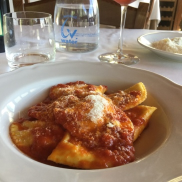 Ricotta filled ravioli, light and satisfying after the uphill ride.